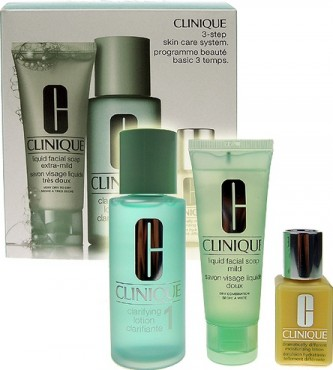 Clinique 3step Skin Care System1 50ml Liquid Facial Soap Extra Mild + 100ml Clarifying Lotion 1 + 30ml DDML
