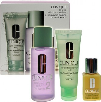 Clinique 3step Skin Care System2 50ml Liquid Facial Soap Mild + 100ml Clarifying Lotion 2 + 30ml DDML